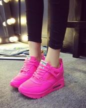 yüksek tabanlı fuşya rahat spor ayakkabı sk8486