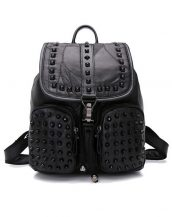 zımbalı hakiki deri siyah sırt çantası sk10378