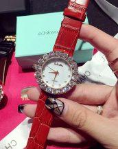 büyük iri taşlı kırmızı deri kol saati sk11322