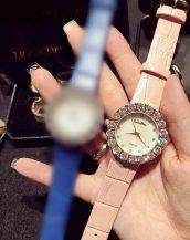 büyük iri taşlı pudra deri kol saati sk11322