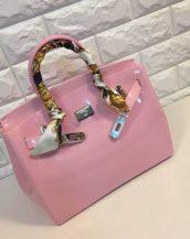 fularlı açık pembe silikon kol çantası sk10568