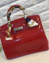 fularlı bordo silikon kol çantası sk10568