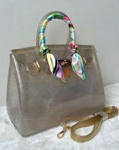 fularlı bronz simli silikon kol çantası sk10568