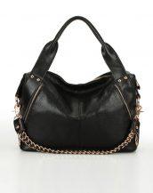 hakiki deri siyah zincirli omuz çantası sk10640