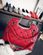 kabartma deri kırmızı zımbalı el çantası sk10754