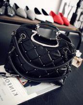 kabartma deri siyah zımbalı el çantası sk10754