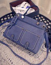 mavi retro tarzı cepli kol çantasi sk10730