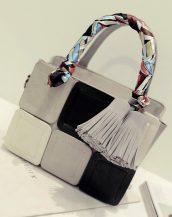 renkli ekose tasarım fularlı gri kol çantası sk11508