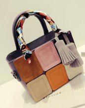 renkli ekose tasarım fularlı mor kol çantası sk11508