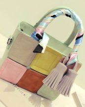 renkli ekose tasarım fularlı su yeşili kol çantası sk11508