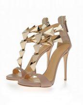 yüksek topuklu bej tasarım sandalet sk11069