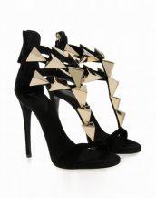 yüksek topuklu siyah tasarım sandalet sk11069
