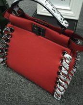 yılan derisi tasarım deri kırmızı kol çantası sk10476