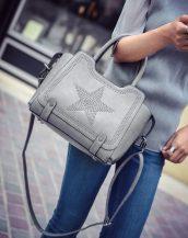 yıldız desenli zımbalı gri kol çantası sk10972