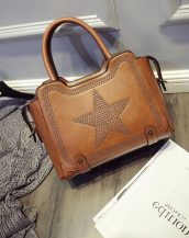 yıldız desenli zımbalı kahverengi kol çantası sk10972