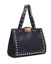 zımbalı büyük siyah omuz çantası sk10702