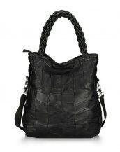 büyük siyah deri omuz çantası sk12486