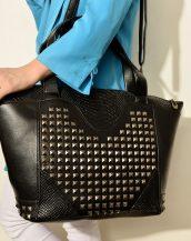 zımbalı büyük siyah deri çanta sk12493