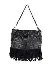 zımbalı püsküllü siyah çapraz çanta sk13023