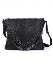 zımbalı püsküllü siyah deri omuz çantası sk12519