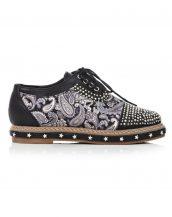 özel tasarım siyah zımbalı oxford ayakkabı sk13212