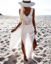 beyaz şifon plaj elbisesi sk13497