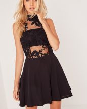siyah dantel detaylı kolsuz elbise sk4561