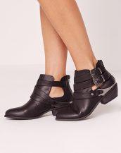 siyah kısa tokalı bayan kovboy botu sk14586
