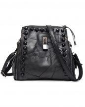 zımbalı kilitli siyah deri bayan sırt çantası sk13606