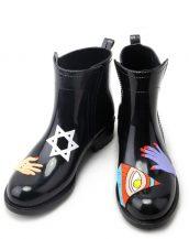 siyah tasarım kısa yağmur botu sk14851