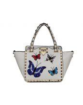beyaz kelebek desenli zımbali çanta sk16393