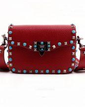 bordo renkli zımbalı kol çantası sk14805