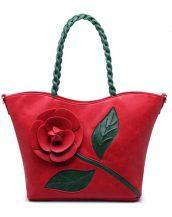 kırmızı çiçek tasarım tote çanta sk15294