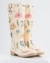 krem çiçek desenli yağmur çizmesi sk14858