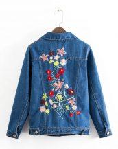 mavi çiçek işlemeli kot ceket sk14913