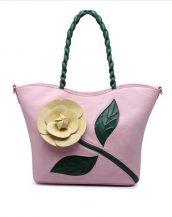 pembe çiçek tasarım tote çanta sk15294