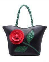 siyah çiçek tasarım tote çanta sk15294