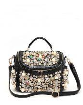 siyah aksesuarlı çapraz omuz çantası sk16365