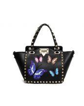 siyah kelebek desenli zımbali çanta sk16393
