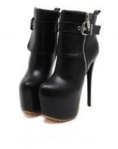 siyah yüksek topuk deri bootie sk15504