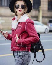 bayan kırmızı süet ceket modelleri sk16948