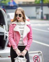 bayan pembe süet ceket modelleri sk16948