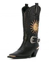 fausto puglisi siyah işlemeli kovboy çizmesi skl17731