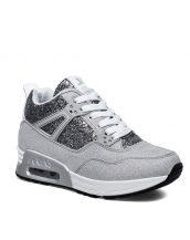 gümüş yüksek taban parlak spor ayakkabı sk16909
