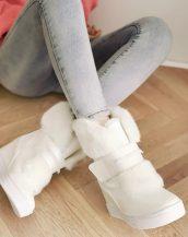 gizli topuklu kürklü beyaz kar botu sk16523
