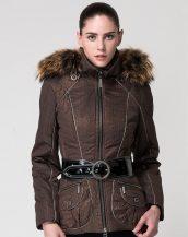 kürk kapşonlu kahverengi kemerli bayan ceket sk16972