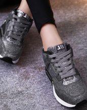 sk16909 gri simli yüksek taban spor ayakkabı