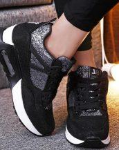 sk16909 siyah simli yüksek taban spor ayakkabı