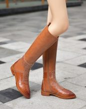 sk17906 kahverengi zımbalı deri çizme