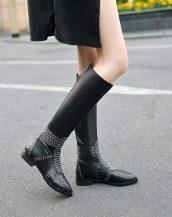 sk17906 siyah zımbalı deri çizme